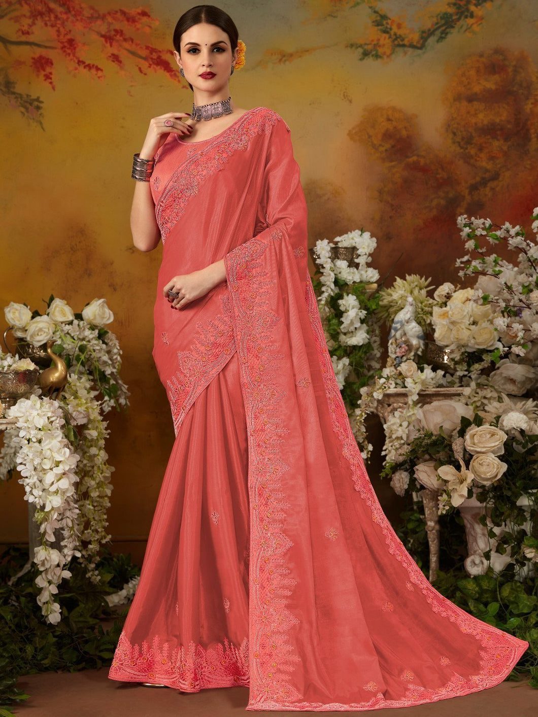 Coral Heavy Work Silk Designer Saree