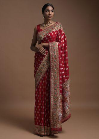 Scarlet Red Banarasi Saree In Georgette With Weaved Buttis And Floral Pattern On The Pallu Online