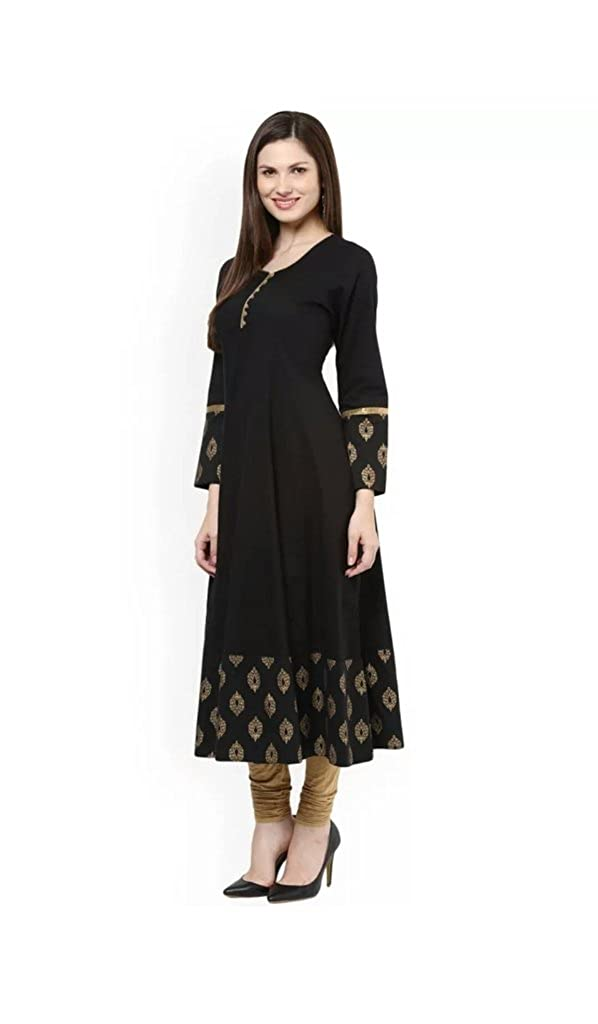 Womens Black Cotton Anarkali Kurti