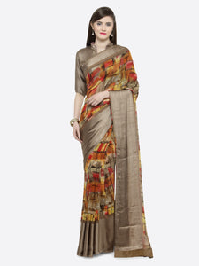 Brown & Red Silk Printed Saree
