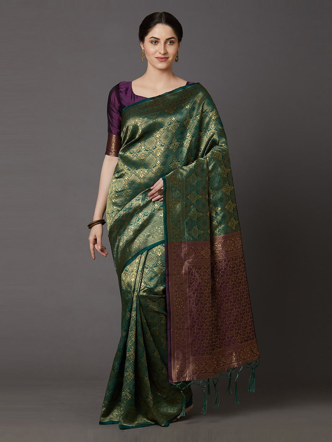 Green & Golden Silk Blend Woven Design Banarasi Saree