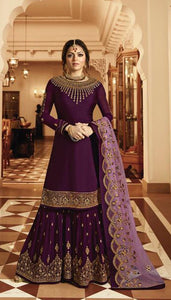 Purple Colored Silk Embroidary Work Sharara Suit