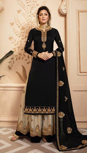 Black Colored Silk Embroidary Work Sharara Suit