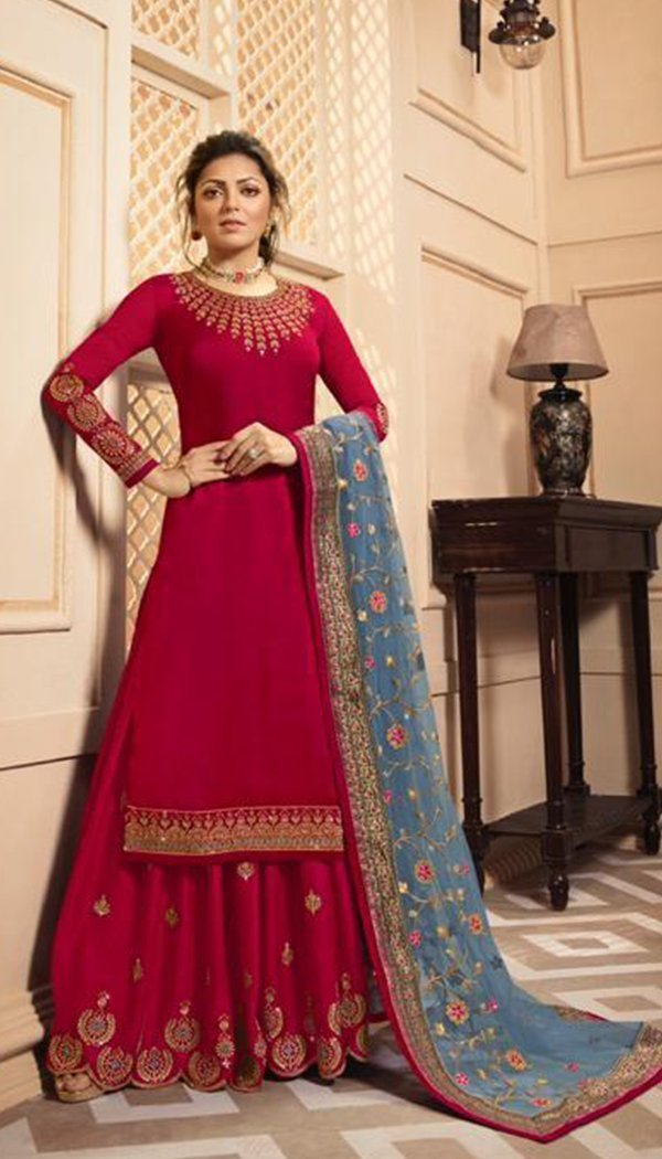 Red Colored Silk Embroidary Work Plazzo Kurti