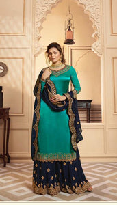 New Latest blue colored party wear Embroidered anarkali suit with goergette dupatta
