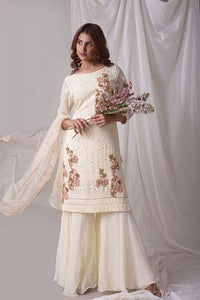 Off White Thread Embroidered Georgette Palazzo Suit