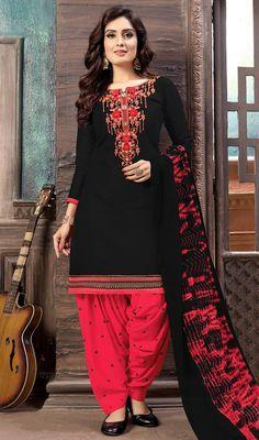 Spruce Black Salwar Suit With Floral Embroidered Neckline And Buttis
