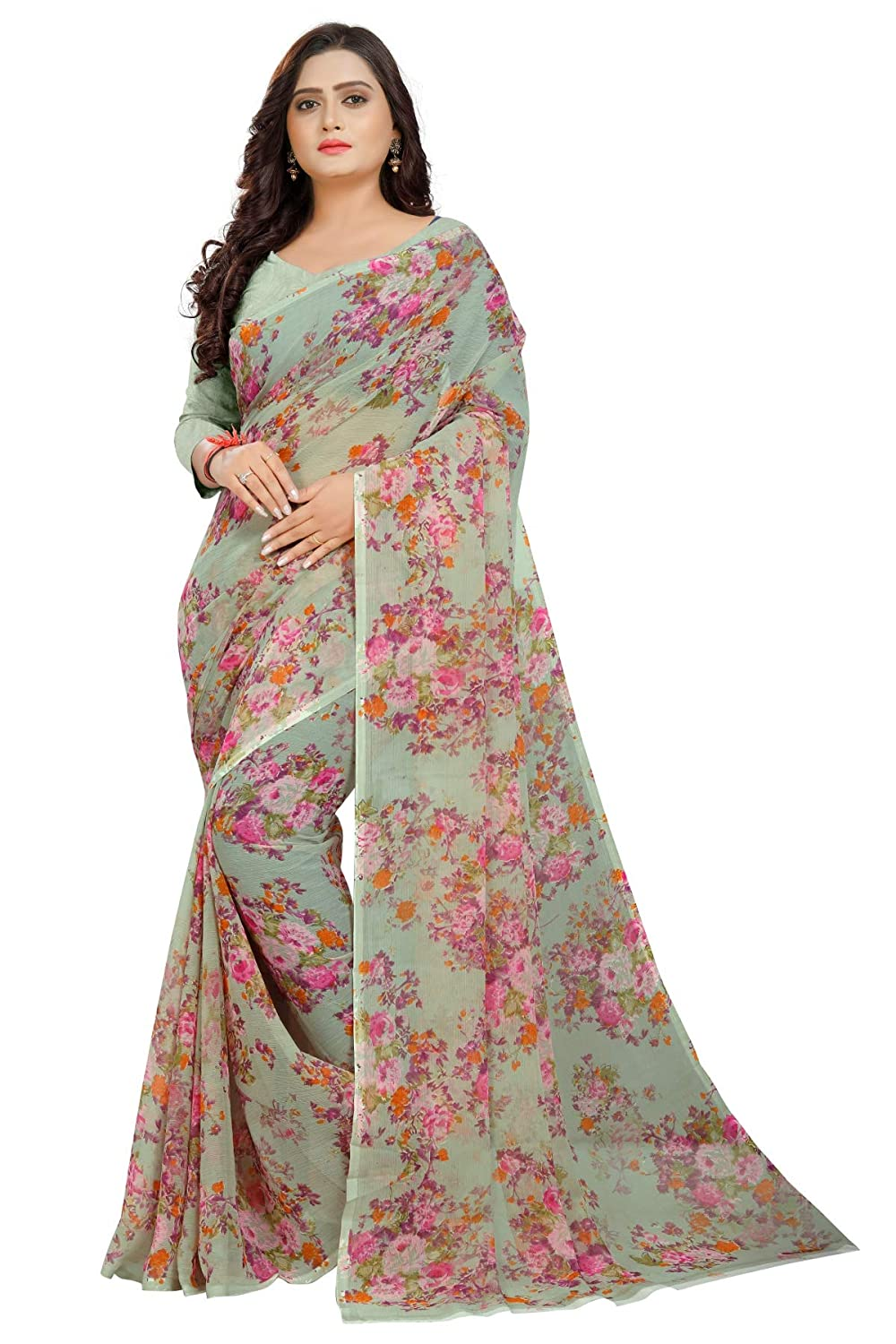 Womens Floral Chiffon Printed Saree With Blouse