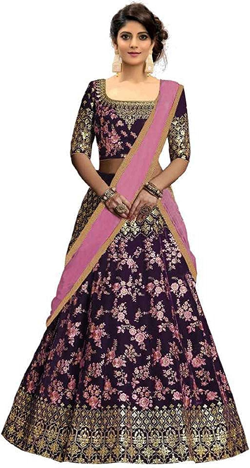 Womens Heavy 2-Tone Silk Embroidered Lehenga Choli with Blouse Piece