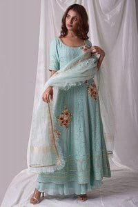Powder Blue Thread Embroidered Georgette Palazzo Suit