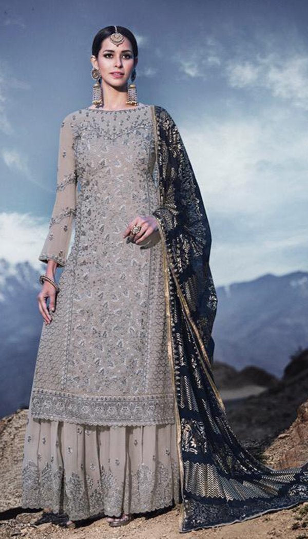 Grey & Blue Colored Georgette Embroidary Work Plazzo Kurti