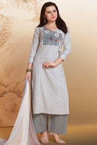 White & Grey  Thread Embroidered Cotton Palazzo Suit