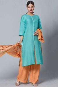 Turquoise Blue Printed Chanderi Silk Plazzo Suit