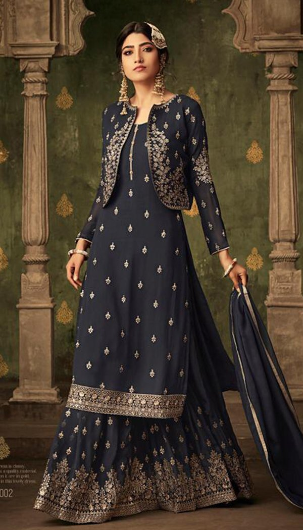 Attractive Blue Colored Georgette Printed Work Plazzo Kurti