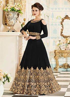 Black Embroidered Abaya Style Anarkali Suit