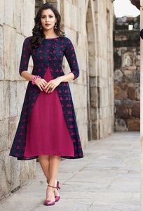 Classy Heavy Rayon deep pink & blue coloured Embroidery Work party wear Kurtis