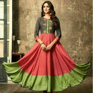 Classy georgette light pink & pista coloured Embroidery Work party wear Kurtis
