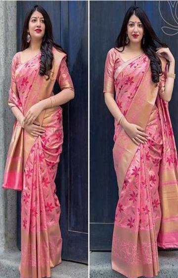 Radient Pink Color Soft Silk Designer Saree