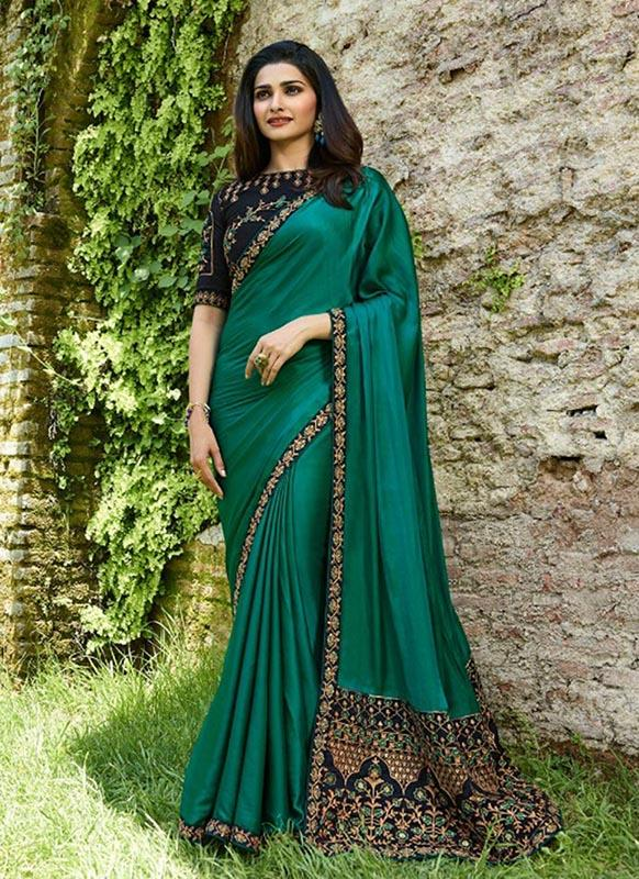 Mesmerising Green Colour Sana Silk Partywear Designer Saree