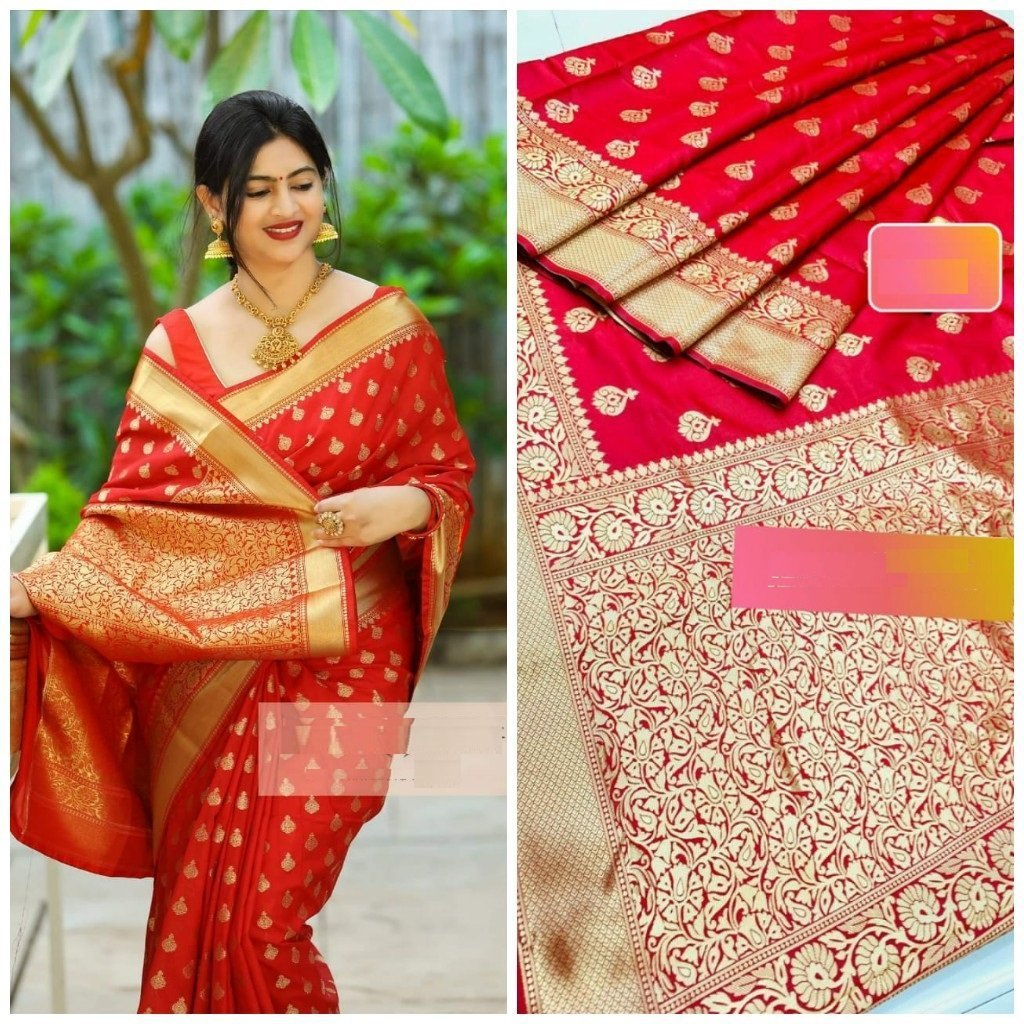 Vibrant Red Color Party Wear Banarasi Silk Jacquard Saree With Reach Pallu For Women
