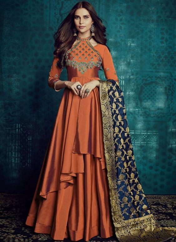 New Latest dark orange colored party wear Embroidered anarkali suit with jaqard dupatta