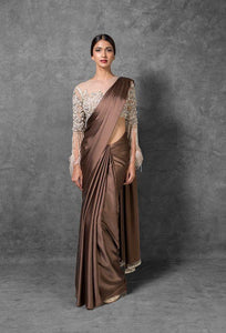 Now Trending coffee Color fancy fabric Party Wear with embroidered blouse Saree