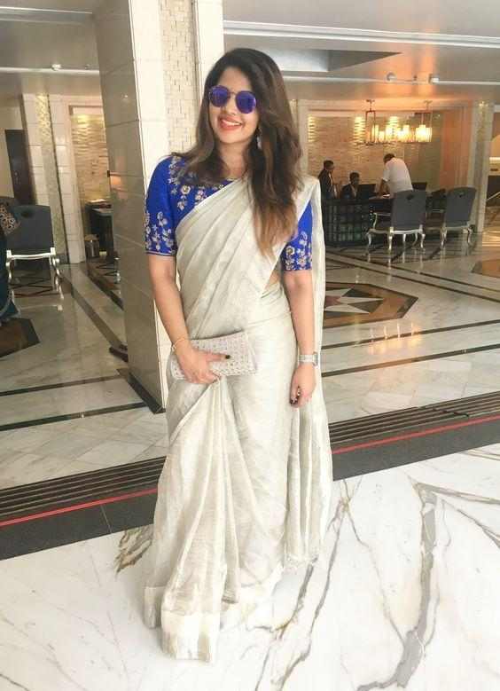 Now Trending white Color fancy fabric Party Wear with embroidered blouse Saree