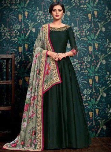 Party Wear Embroidered Net Anarkali Suit in Dark Green