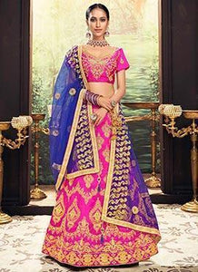 Pink Art Silk Embroidered A Line Lehenga
