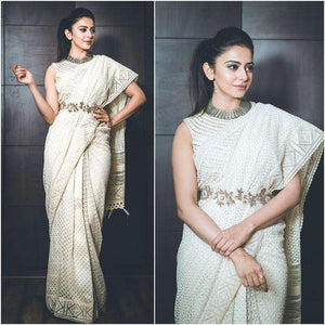Rakul Preet white Colour stunning high neck blouse for the traditional