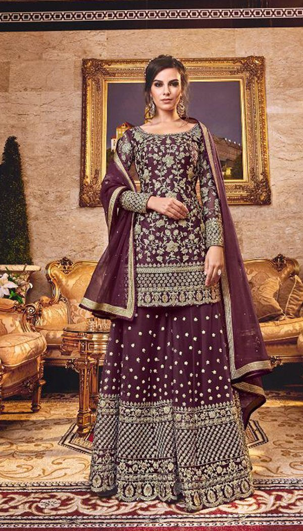 Appealing Purple Colored Georgette Embroidary Work Plazzo Kurti