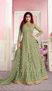 Excellent Pista Colored With Net Embroidary Semi stitch Gown