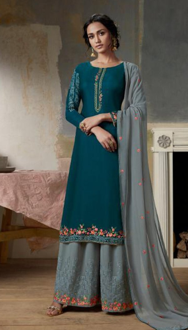 Stunning Blue Colored Georgette Embroidary Work Plazzo Kurti