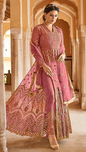 Arresting Pink Colored Western Look Net Embroidary Semi stitch Gown