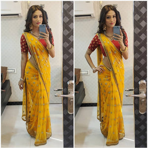 Amazing Yellow Colored Partywear Sequance Work Georgette Saree