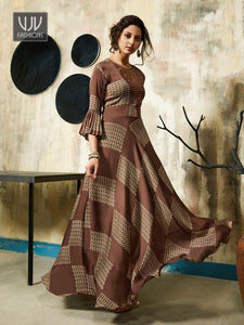 Womens Latest Designer brown coloured Heavy Rayon party wear Kurtis