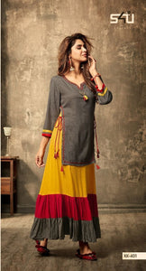 Women New Stylish Designer grey & yellow coloured Heavy Rayon party wear Kurti