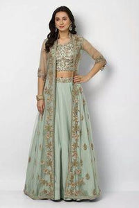 Net Lehenga with satin lining and  crystal embroidery