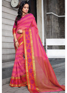 Cotton Pink Traditional Designer Saree Collection