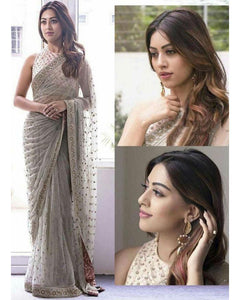 Richa  Gangopadhyay  Sequance & Fancy Thread Work Designer Saree Gray
