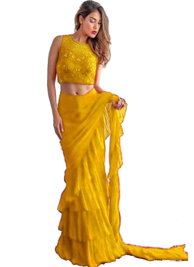 Demanded Yellow Georgette Plain Ruffle Saree