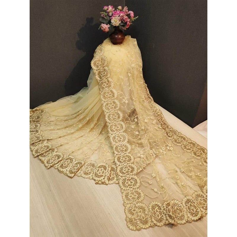 Designer Beautiful Cream Heavy Nylon Net Saree
