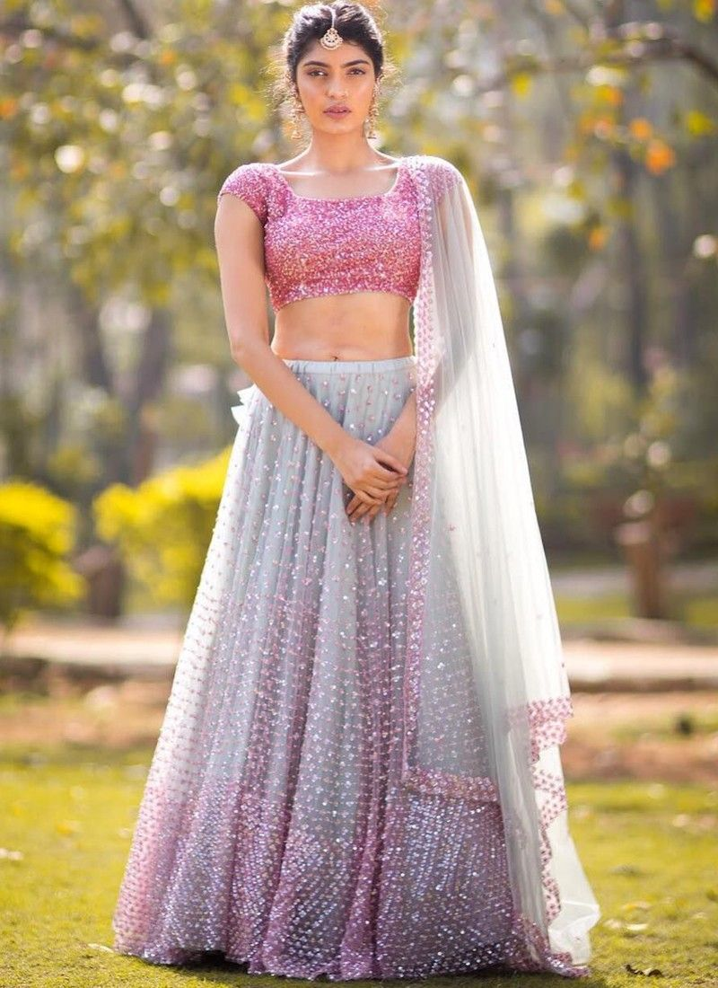 Designer Butterfly Mono Net Grey Color Partywear Lehenga Choli