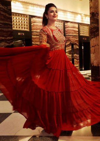 Red Indowestern Gown With Hand Embroidered Bodice And Tiered Silhouette