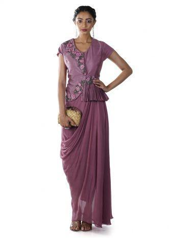 Dusty Pink Peplum Jacket Style Draped Gown With Floral Embroidery