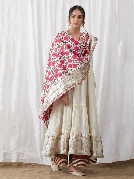 Excellent off white colored georgette fabric party wear Embroidered anarkali suit with dupatta