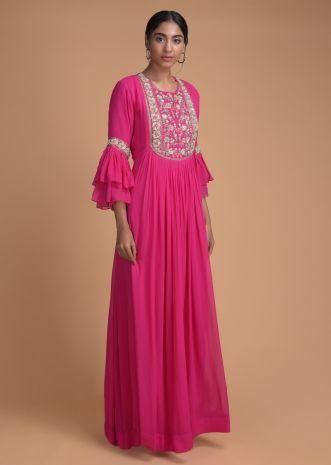 Hot Pink Indowestern Gown With Embellished Floral Placket
