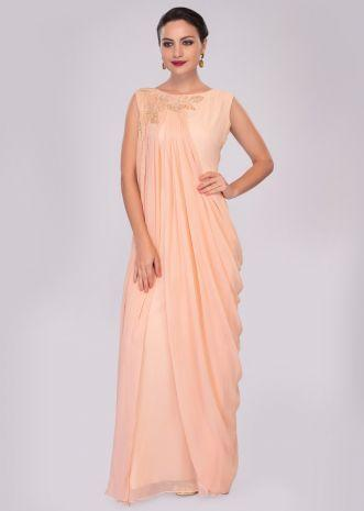 Peach Tunic Dress In Georgette Enhanced With Pleats And Side Cowl Drape