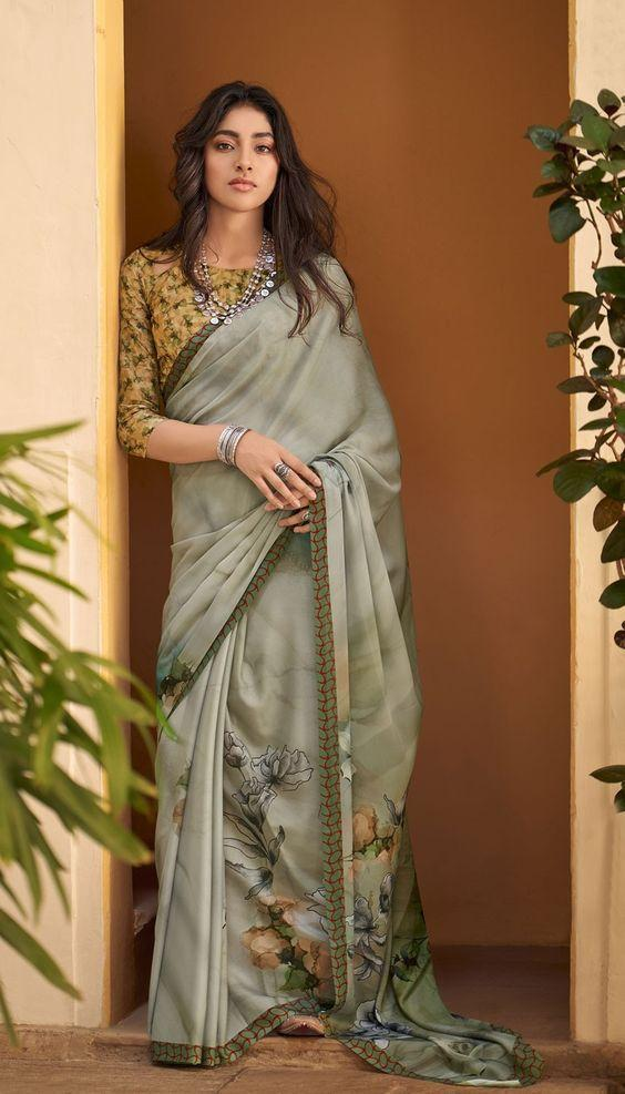 Rich look wear multi color designer saree with fancy blouse