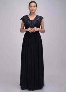 Midnight Blue color Gown In Chiffon